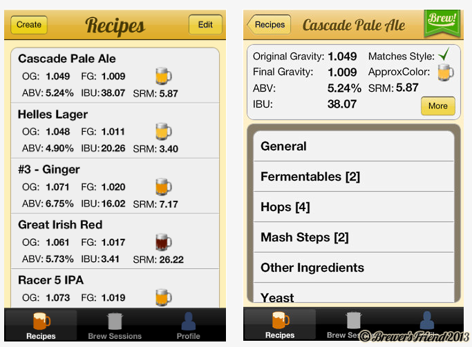 Brewer's Friend iPhone App 1.0 screen shots