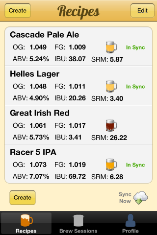 Brewer's Friend iPhone App 1.2 screen shot recipe sync