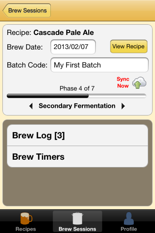 Brewer's Friend iPhone App 1.3 screen shot brew session sync