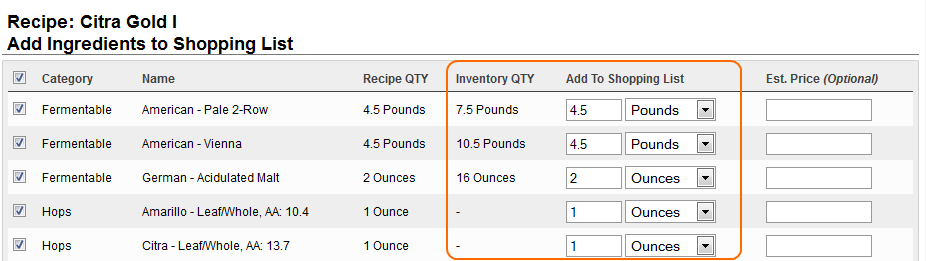 Brewing Software Add Recipe to Shopping List