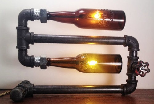 lamp with beer bottle