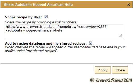 recipe share dialog