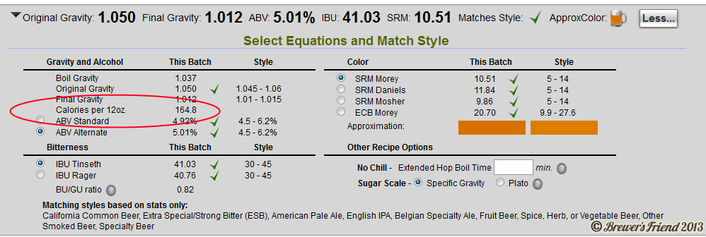 Calorie Calculation Beer In Recipe Editor
