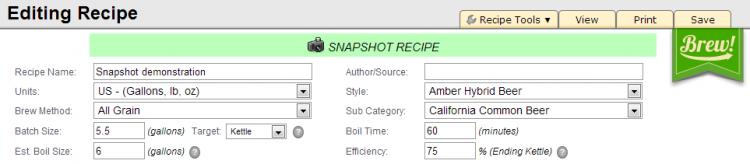 Recipe Snapshot Notification