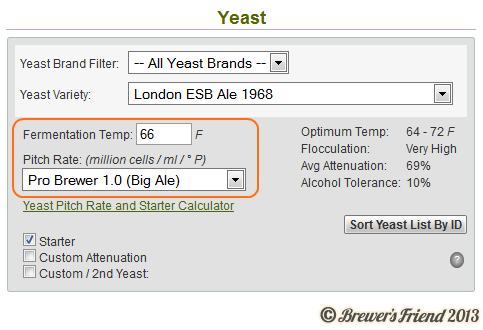 Beer Recipe Software Yeast Pitch Rate and Fermentation Temp