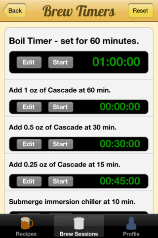 Brewer's Friend iPhone App 1.1 screen shot brew timer